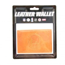 Golden State Warriors Tan Leather Tri Fold Wallet