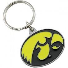 Iowa Hawkeyes Oval Carved Metal Keychain