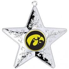 """Iowa Hawkeyes 4"""" Silver Star Ornament"""