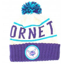 NBA Officially Licensed Charlotte Hornets Mitchell & Ness Knit Purple Cream Print Cuffed Pom Beanie Hat Cap Lid Toq