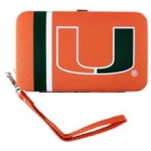 """Miami Hurricanes Distressed Wallet Wristlet Case (3.5"""" X .5"""" X 6"""")"""