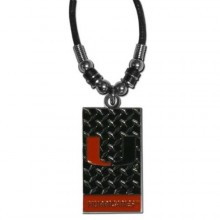 Miami Hurricanes Diamond Plate Rope Necklace, 20-Inch