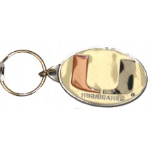 Miami Hurricanes Oval Carved Metal Keychain
