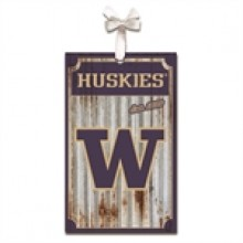Washington Huskies Corrugated Metal Ornament