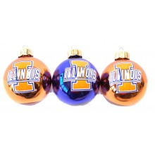 Illinois Fignting Illini 3 Pack Round Ball Ornaments