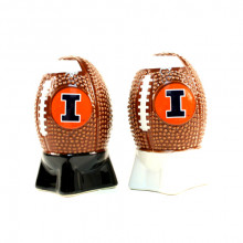 Illinois Fignting Illini  Sculpted Football Shaped Salt and Pepper Shakers