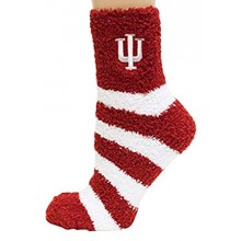 Indiana Hoosiers Striped Fuzzy Lounge Socks