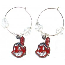 Cleveland Indians Beaded Hoop Earrings