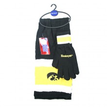 Iowa Hawkeyes Cold Weather Knit Scarf and Glove Set