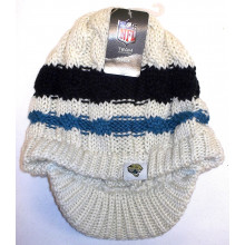 NFL Licensed Jacksonville Jaguars Tan Knit Striped Billed Beanie