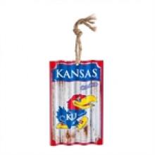 Kansas Jayhawks Corrugated Metal Ornament