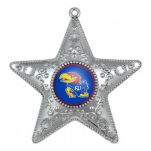 "Kansas Jayhawks 4"" Silver Star Ornament"