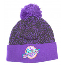 NBA Officially Licensed Utah Jazz Mitchell & Ness Purple Crackle Cuffed Pom Beanie Hat Cap Lid Toque