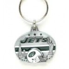 New York Jets Oval Carved Metal Keychain