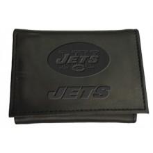 New York Jets Black Leather Tri-Fold Wallet