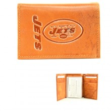 New York Jets Tan Leather Wallet