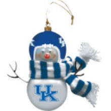"Kentucky Wildcats 6"" Blown Glass Snowman Ornament"