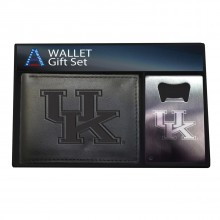 Kentucky Wildcats Bi-Fold Leather Wallet and Bottle Opener Set