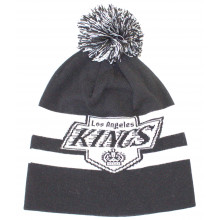 Los Angeles Kings Black Stripe Pom Beanie