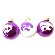Kansas State Wildcats 3 Pack Round Ball Ornaments