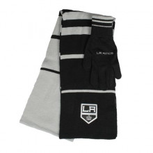 Los Angeles Kings Striped Scarf and Glove Set
