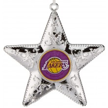 "L A Lakers 4"" Silver Star Ornament"