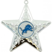 "Detroit Lions 4"" Silver Star Ornament"