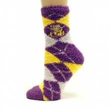 LSU Tigers Argyle Fuzzy Lounge Socks
