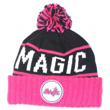 NBA Officially Licensed Orlando Magic Pink and Black  Cuffed Pom Beanie