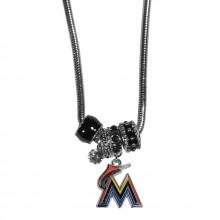 Miami Marlins Euro Bead Charm Necklace
