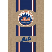 New York Mets 2 Sided Embroidered Burlap Garden Flag