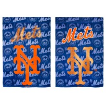 """New York Mets 2 Sided Suede Glitter House Flag 29"""" x 43"""""""
