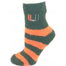 Miami Hurricanes Striped Fuzzy Lounge Socks
