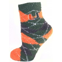 Miami Hurricanes Argyle Fuzzy Lounge Socks