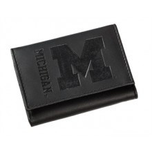 Michigan Wolverines Black Leather Tri-Fold Wallet