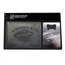 Minnesota Wild Bi-Fold Leather Wallet and Bottle Opener Set