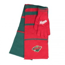 Minnesota Wild Striped Scarf and Glove Set