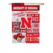 Nebraska Cornhuskers Vertical Linen Fan Rules Garden Flag