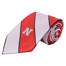 NCAA Officially Licensed Nebraska Cornhuskers Wide Striped Silk Necktie