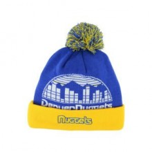NBA Officially Licensed Denver Nuggets Navy Gray Yellow Team Name Cuffed Pom Beanie Hat Cap Lid