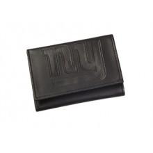 New York Giants Black Leather Tri-Fold Wallet