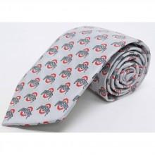 NCAA  Ohio State Buckeyes Silver Repeater Silk Necktie