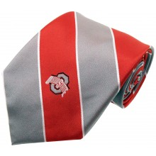 NCAA  Ohio State Buckeyes Wide Stripe Silk Necktie