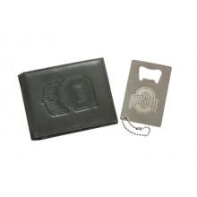 Ohio State Buckeyes Bi-Fold Leather Wallet and Bottle Opener Set
