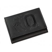 Ohio State Buckeyes Black Leather Tri-Fold Wallet