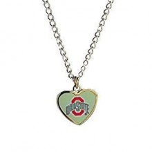 NCAA Ohio State Buckeyes Team Logo Heart Shaped Pendant Necklace