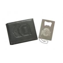 Ohio State Buckeyes  Leather Bi-fold Wallet and Bottle Opener Set