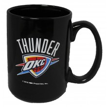 OKC Thunder 15 oz Black Ceramic Coffee Cup