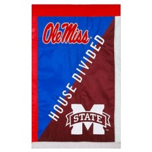 """Ole Miss Rebels House Divided Double Sided 28"""" X 44"""" Applique Flag"""