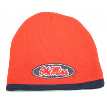 """NCAA Offically Licensed """"Ole Miss"""" Rebels Red with Navy Tip Cuffless Beanie"""